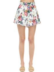 Zimmermann High Waist Printed Linen Shorts White Floral