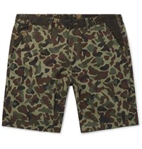 Paul Smith Camouflage Print Cotton Shorts Green