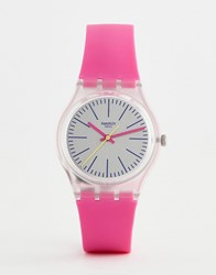 Swatch Ge256 Vibe 5 Silicone Watch In Pink 34Mm