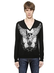 Philipp Plein Skull Wings Intarsia Merino Wool Sweater Black