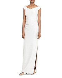 Ralph Lauren Metallic Foil Gown White Silver Metallic