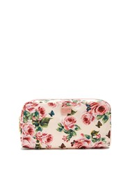 Dolce And Gabbana Floral Print Fabric Washbag Pink Multi