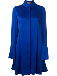 Lanvin Collarless Shirt Dress Blue