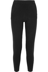 Allude Ribbed Cashmere Track Pants Black