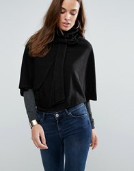 Wal G Funnel Neck Cape Black