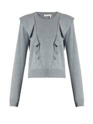Chloe Frilled Cashmere And Cotton Blend Sweater Blue