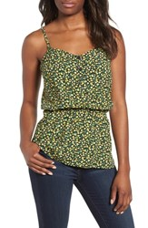 Gibson Peplum Button Front Tank Black Yellow Ditsy Floral