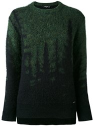 Dsquared2 Embroidered Sweater Women Polyamide Mohair Wool Xs Green