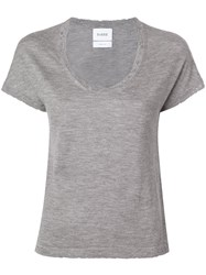 Barrie Distressed Cashmere T Shirt Grey