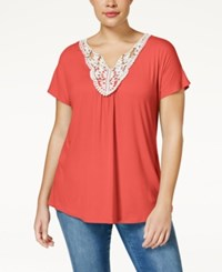 Ing Trendy Plus Size Crochet Trim Top Dahlia