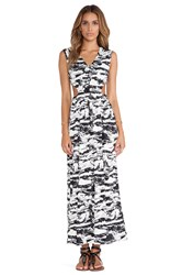 T Bags Losangeles Side Cut Out Maxi Dress Black And White