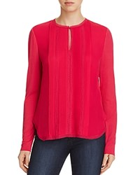 Elie Tahari Sima Mixed Media Blouse Rouge