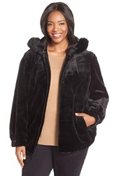 Gallery Grooved Faux Fur Hooded Jacket Plus Size Black