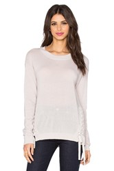 Autumn Cashmere Lace Up Crew Neck Sweater Gray