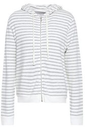 Majestic Filatures Striped French Terry Hoodie White