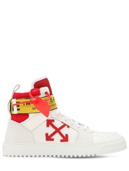 Off White Industrial Leather High Top Sneakers White Red