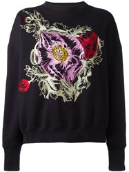 Alexander Mcqueen Embroidered Flower Sweatshirt Black