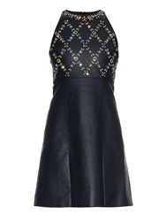 Erdem Hudson Beaded Leather Mini Dress