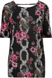 Sandro Cutout Floral Print Jersey Top Black