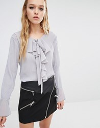 Navy London Blouse With Ruffle Collar And Tie Neck Detail Grey