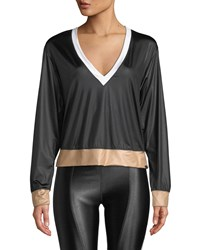 Koral Birdie Colorblock V Neck Pullover Top Black White