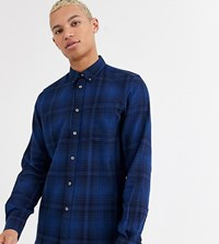 French Connection Tall Tonal Flannel Check Shirt Navy