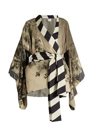 Hillier Bartley Floral Print Silk Crepe Kimono Jacket Black Cream