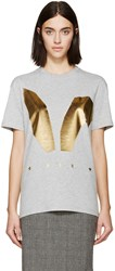 Mcq By Alexander Mcqueen Grey And Gold Bunny Ears T Shirt