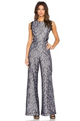 Alexis Livia Open Back Jumpsuit Black And White