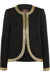 Roberto Cavalli Sequin Embellished Wool Jacket Black