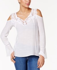 Thalia Sodi Crocheted Cold Shoulder Peasant Top Only At Macy's Bright White