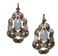 Nak Armstrong Recycled 18K Yellow Gold Earrings With Aquamarine Rainbow Moonstone Labradorite And Rustic Diamond Blue