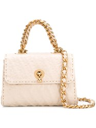 Ermanno Scervino Chain Strap Embossed Tote Women Leather One Size Nude Neutrals