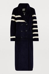 Each X Other Long Wool Coat Navy Blue And White