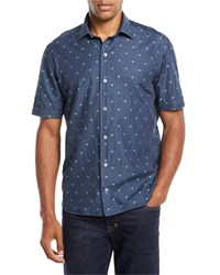 Culturata Short Sleeve Skull Print Denim Sport Shirt Navy