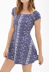 Forever 21 Tribal Print A Line Dress Navy White