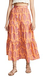 Mds Stripes Tiered Button Front Skirt Pink Paisley