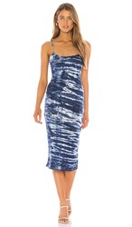 Young Fabulous And Broke Anyssa Dress In Blue. Navy Ikat Wash