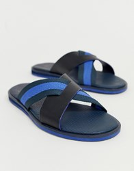 Ted Baker Bowdus Sliders In Blue Leather