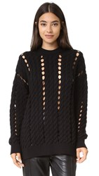 Alexander Wang Cable Pullover With Slits Jet