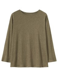 Toast Long Sleeve Linen T Shirt Khaki