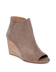Lucky Brand Leather Open Toe Booties Brown