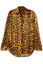 Adam By Adam Lippes Leopard Print Hammered Silk Crepe Shirt Brown