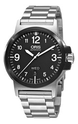 Oris 01 735 7641 4364 07 8 22 03 Men's Bc3 Advanced Day Date Bracelet Strap Watch Silver Black