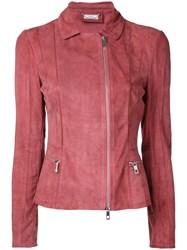 Desa Collection Zipped Jacket Women Suede 36 Pink Purple