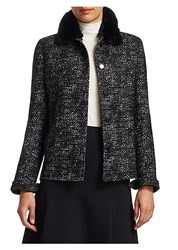 Akris Punto Faux Fur Collar Tweed Jacket Black Cream