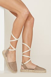 Forever 21 Faux Suede Lace Up Espadrilles