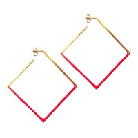 Stephanie Bates Gold And Hot Pink Square Hoops Gold Pink Purple