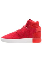 Adidas Originals Tubular Invader Hightop Trainers Red Vintage White