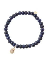Sydney Evan 6Mm Faceted Sapphire Beaded Bracelet With 14K Gold Diamond Medium Ladybug Charm Made To Order